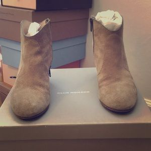 Beige Suede Booties, Ankle boots